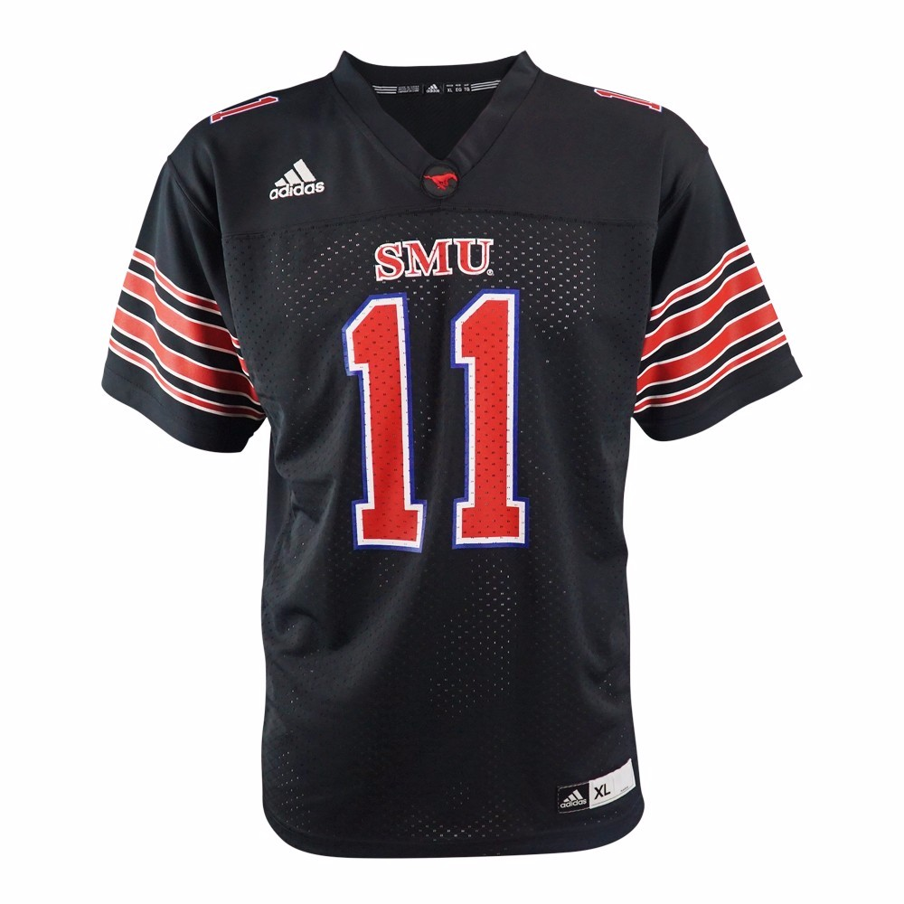 SMU Mustangs NCAA Adidas Black Official Home #11 Replica Football Jersey For Youth
