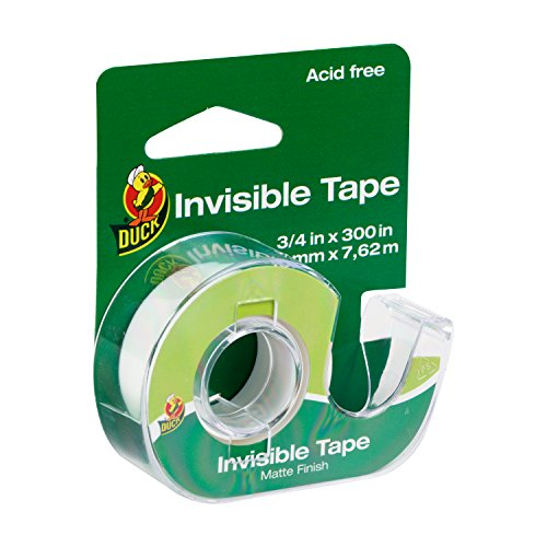 Duck Brand Invisible Matte Finish Acetate Tape with Dispenser, 3/4-Inch x 300 Inches, Single Roll (668395)