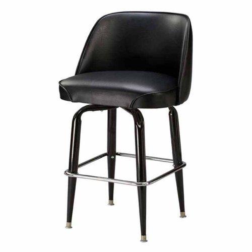 Regal Bucket Seat Classic 30 in. Square Base Black Metal Bar Stool