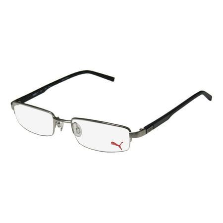 New Puma 15363 Peta Mens/Womens Rectangular Half-Rim Silver / Black Half-rimless Popular Design Frame Demo Lenses 49-19-140 (Most Popular Sunglasses For Men)