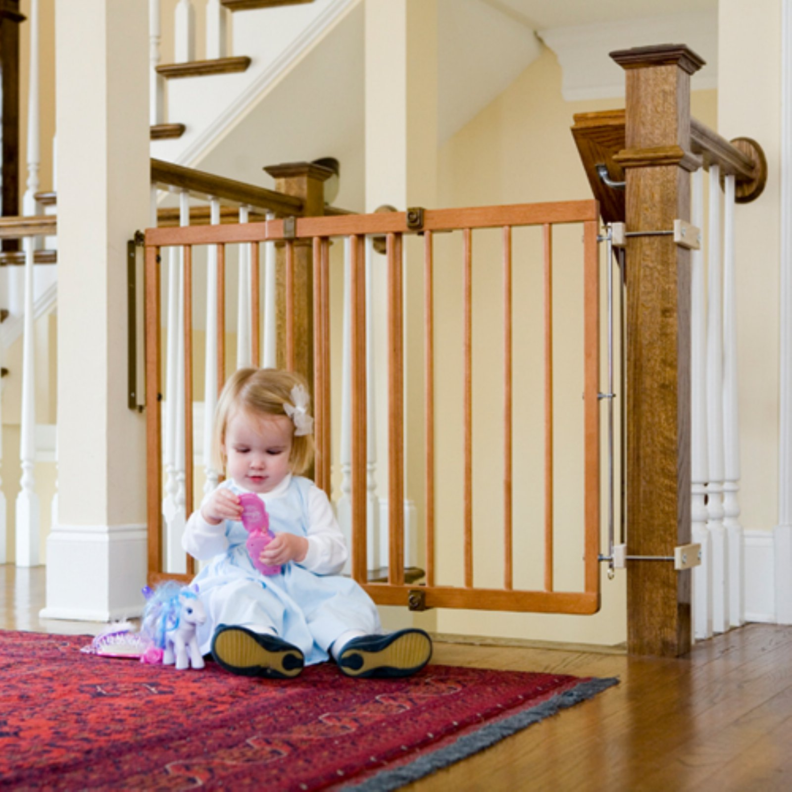 Cardinal Gates Wood Child Safety Gate, Colonial Maple
