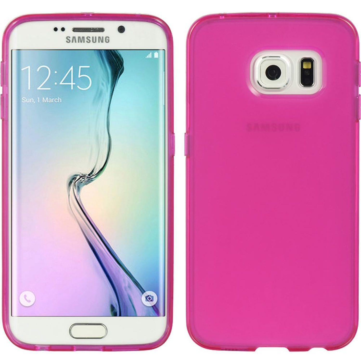 Insten Rubber TPU Case Cover For Samsung Galaxy S6 Edge, Hot Pink