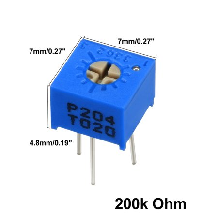 Resistors 200k Ohm Top Adjustment Horizontal Cermet Potentiometer 6 Pcs - image 1 de 6