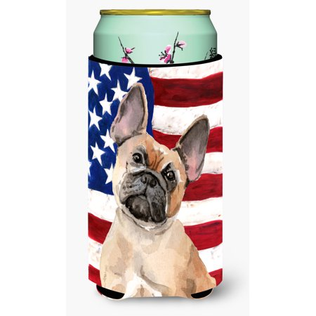 Fawn French Bulldog Patriotic Tall Boy Beverage Insulator Hugger - Bulldogs Beverage