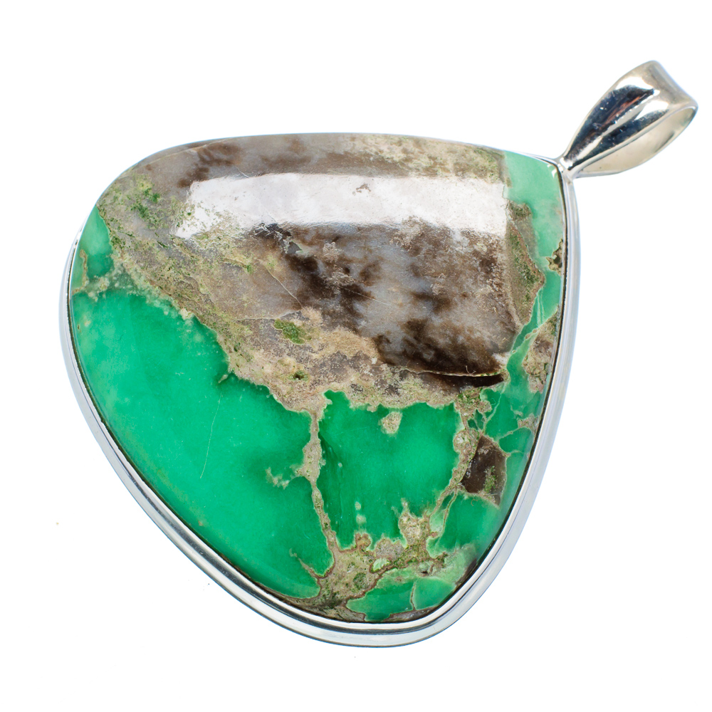 "Ana Silver Co Huge Chrysoprase 925 Sterling Silver Pendant 2 1 4"" PD599732 by Ana Silver Co."
