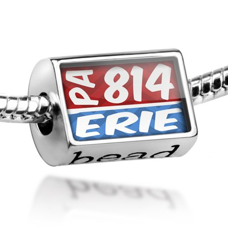 Bead 814 Erie, PA red/blue Charm Fits All European Bracelets
