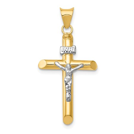 (Solid 14k Gold Two-Tone Polished Jesus Crucifix Cross Pendant (16mm x 34.5mm))