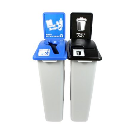 Busch Systems Waste Watcher  Mixed Recyclables Solid Lift Double 46 Gallon 2 Piece Recycling Bin and Trash Can Set