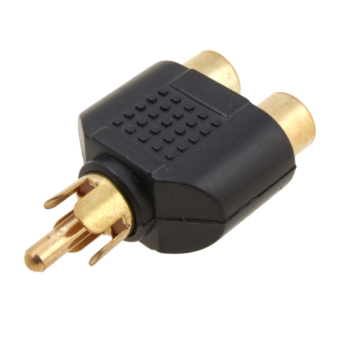 Unique Bargains TV Gold Plated RCA Y Splitter Male Plug to 2 x Female Sockets Converter Adapter