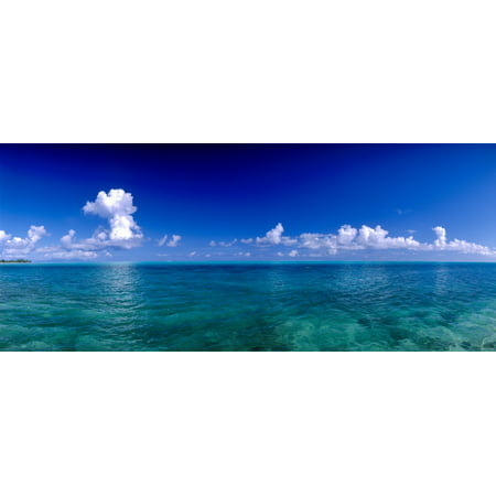 Clouds over Pacific ocean Bora Bora Leeward Islands Society Islands French Polynesia Canvas Art - Panoramic Images (9 x 27)