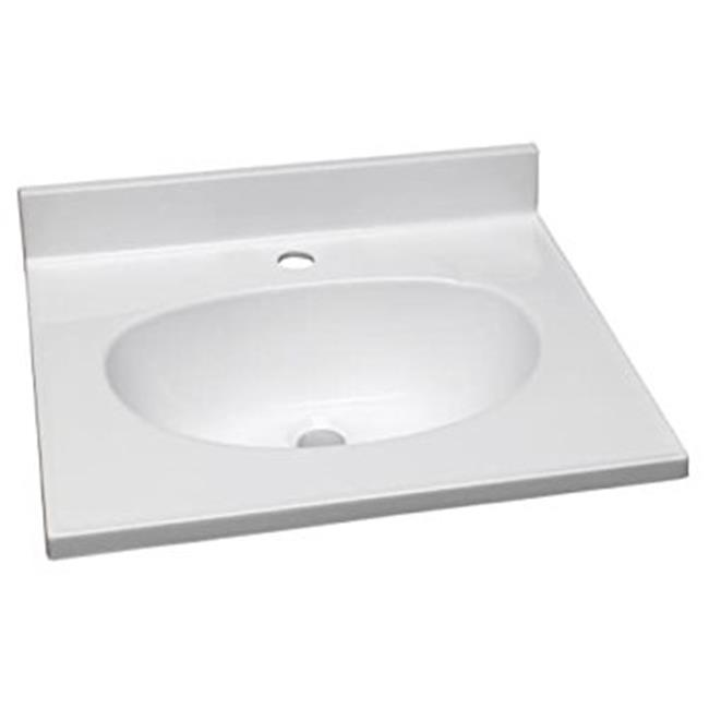 31 in. Cultured Marble Single Faucet Hole Vanity Top, Solid White - image 1 of 1