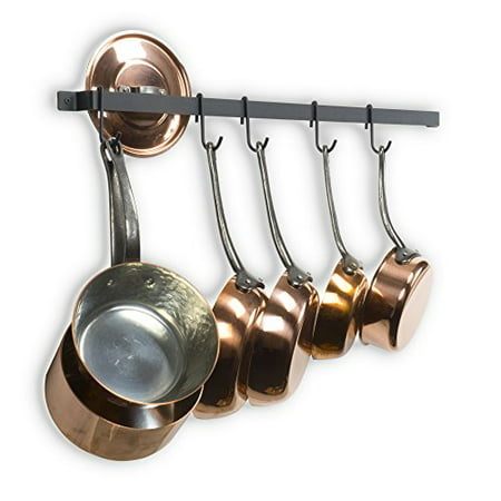 Castro 30 Inches Long Wall Mounted Hanging Kitchen Organizer Strong Iron Gourmet Kitchen Bar Wall Pot Rack Rail and 15 S Hooks Set Utensil Pot Pan or Lid Storage Organization