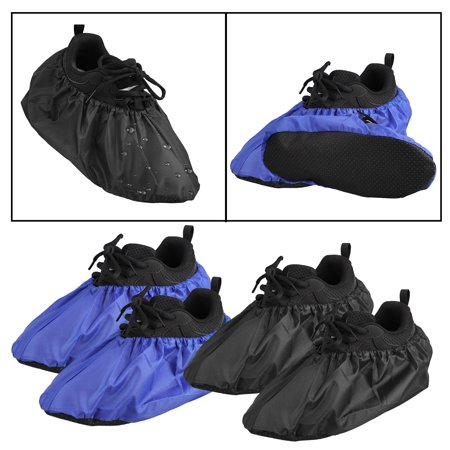 Dust Boot Covers - EEEkit Men Women Waterproof Shoe Covers Slip-Resistant Overshoes, Washable Reusable, Boot Covers for Contractors,Water & Dust Resistant--2 Pairs (1 pair black+1 pair navy blue)