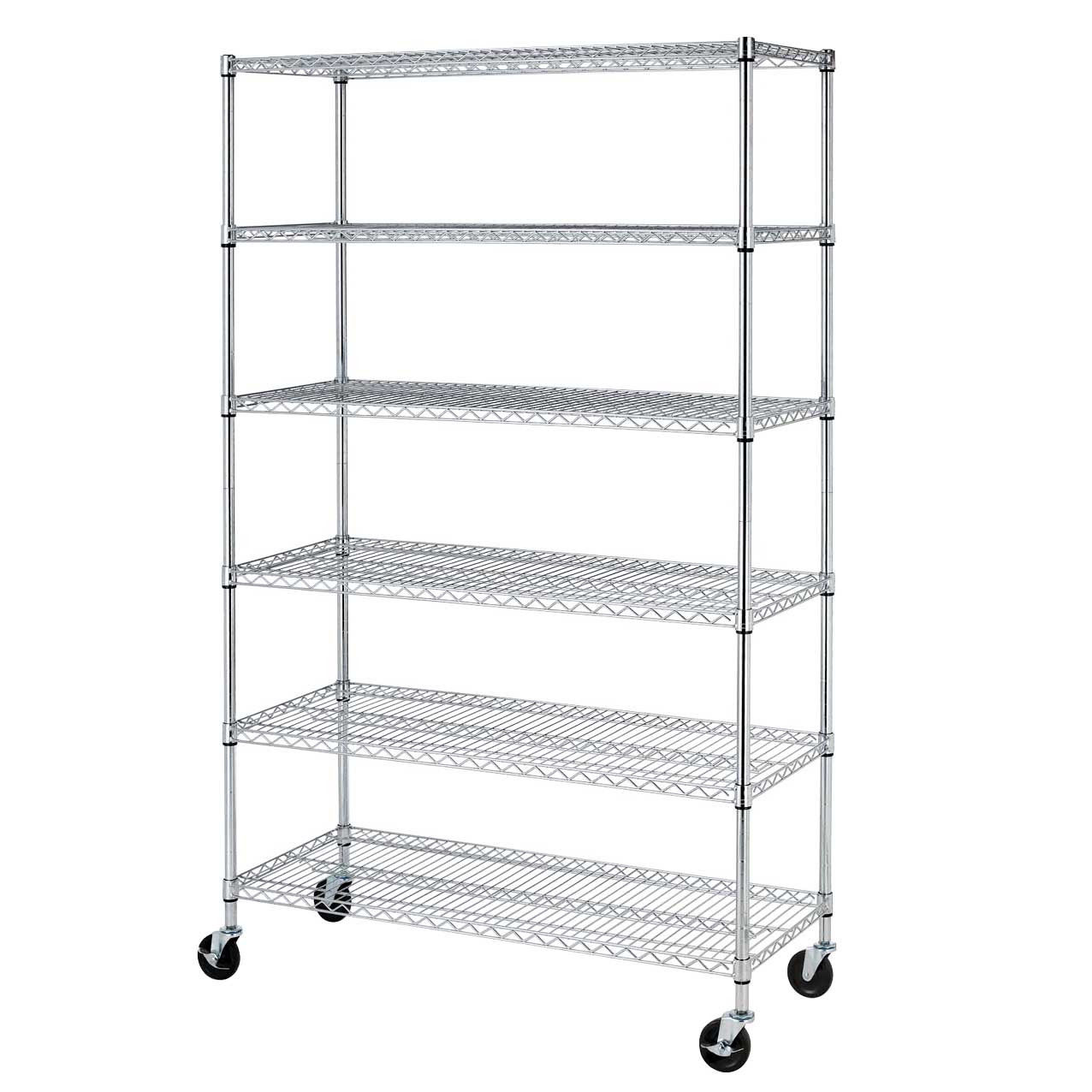 "Commercial 82""x48""x18"" 6 Tier Layer Shelf Adjustable Wire Metal Shelving Rack 76"