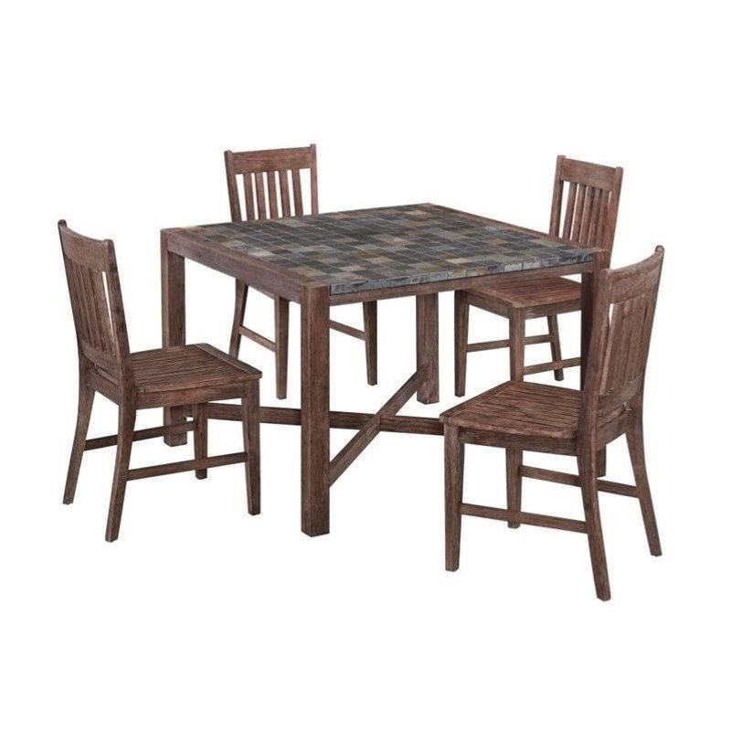 Bowery Hill 5 Piece Dining Room Set in Wire Brushed by Bowery Hill