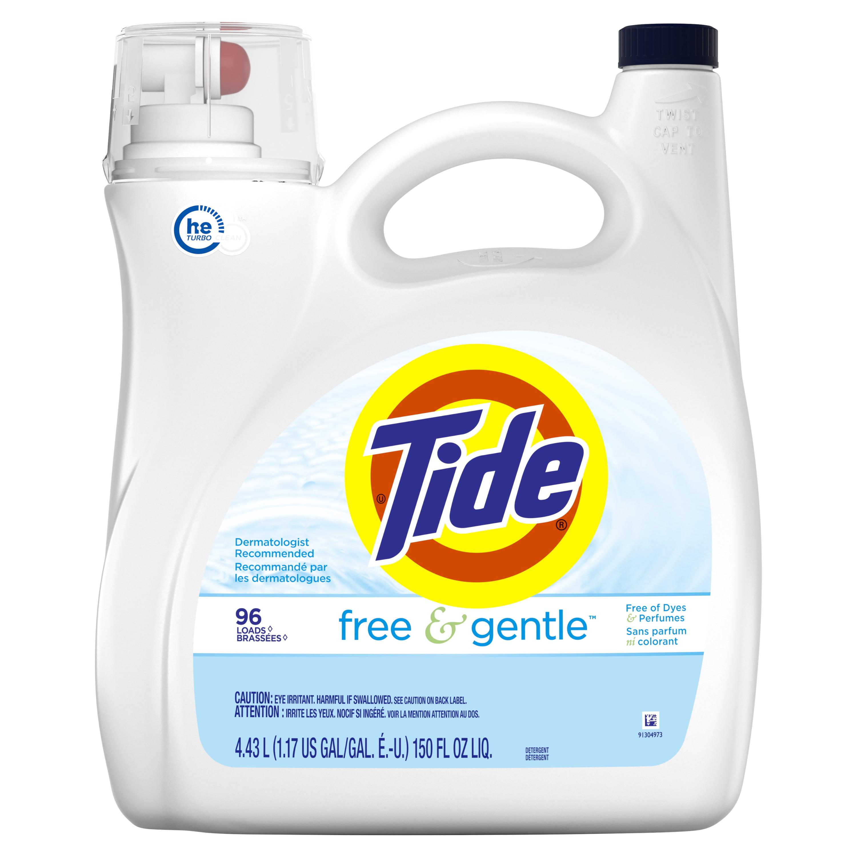 Tide Free & Gentle, HE Turbo Clean, Liquid Laundry Detergent, 96 Loads 150 fl oz
