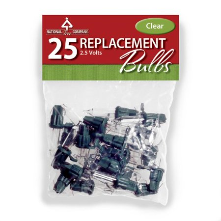 National Tree RBG-25C 25 Clear Replacement Bulbs in Bag with Header for 50 Light Sets-UL-2.5 Volts ()