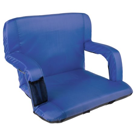 Wide Stadium Seat Chair Bleacher Cushion- Padded Back Support, Armrests, 6 Reclining Positions and Portable Carry Straps By Wakeman Outdoors