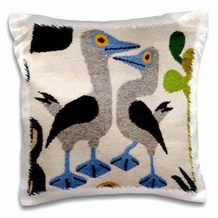 Wool Fall Pillow (3dRose Ecuador, Quito, Otavalo. Wool souvenir rug with Galapagos wildlife. - Pillow Case, 16 by 16-inch )
