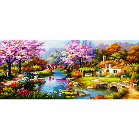 NAIYUE 31 * 15 inches / 79 * 38cm DIY 5D Diamond Painting Kit Scenery Pattern Rhinestone Mosaic Embroidery Cross Stitch Craft Home Wall