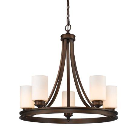 Golden Lighting 1051-5-OP Hidalgo 5 Light Candle Style Chandelier with Opal Glas Williamsburg Style Chandelier