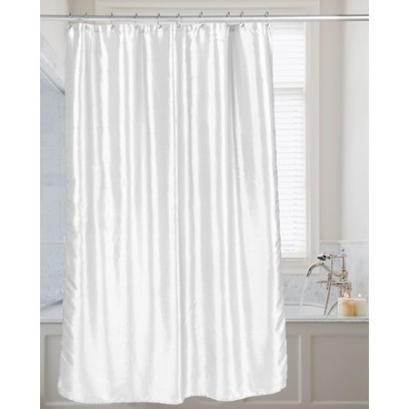 Shimmer Faux Silk Shower Curtain In White