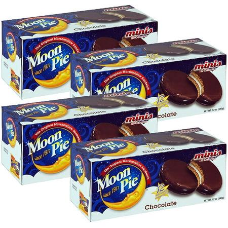 (4 Pack) Moonpie Mini Chocolate Moonpie, 12 oz