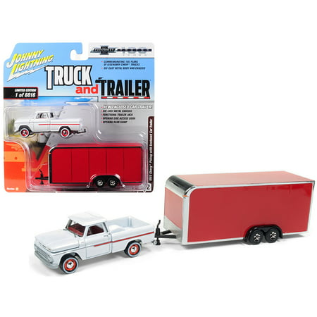 1965 Chevrolet Pickup Truck White w/ Enclosed Red Car Trailer Ltd Ed 6016 pcs 1/64 Diecast Model Car by Johnny Lightning