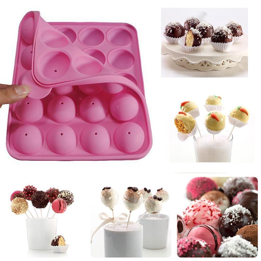 Click here to buy 20-cavity Silicone Cake Mold Half Circle Lollipop Party Cupcake Baking Mold Cake Pop Stick Mold Tray Pink.