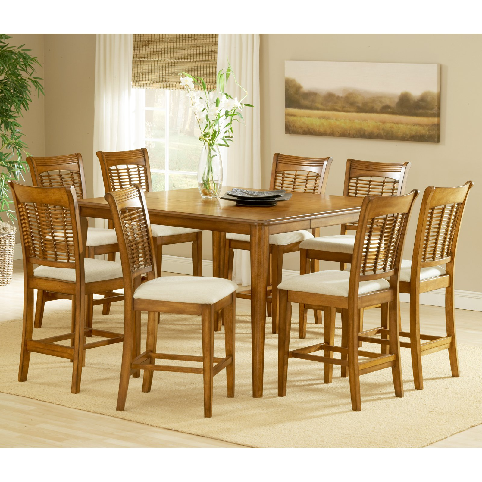 Hilale Bayberry Glenmary 9 Piece Rectangle Counter Height Dining Set With Leaf Oak