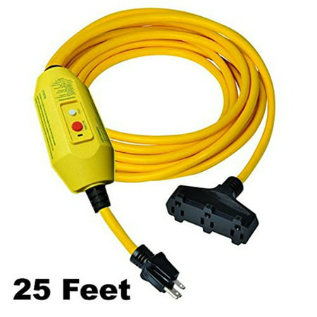 GFCI Inline Power Extension Cord | 3 Outlets - 25 FT Cord