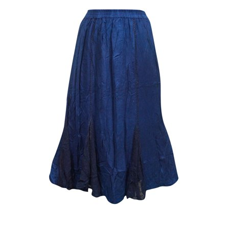 Mogul Women's Peasant Skirt Blue Stonewashed Elastic Waist Maxi Skirts](Peasant Skirt)
