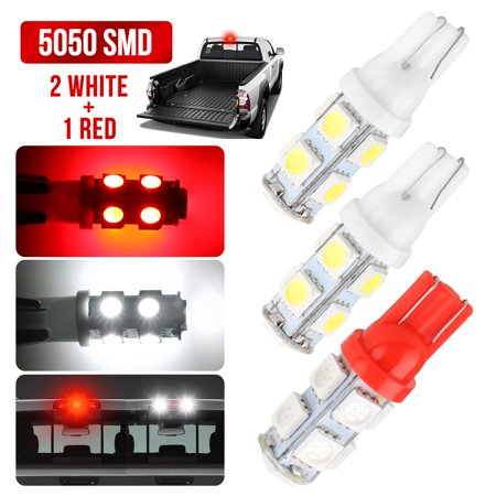 - 2 White 1 Red LED Truck Cargo Area Bed Lights with 9 Super Bright 5050 SMD LEDs (Each Light) Application for Center High Mount Stop Light (3rd Brake Light)