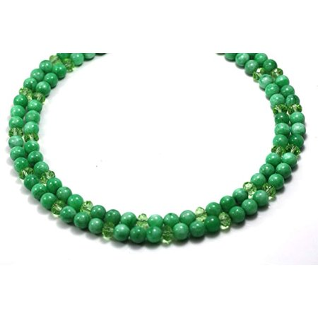 Optical Crystal Gem (Gemstone Beads Necklaces 2 Strands 8mm Impregnation Jadeite with Crystal Beads Beaded Necklace 17