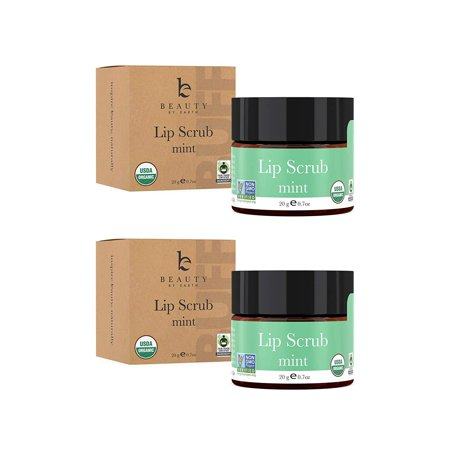 Lip Scrub, Mint Flavor - Organic Minty Exfoliating Sugar Scrubs, Exfoliator for Chapped Dry Lips, Moisturizes With Fresh, Lush Natural Ingredients; Best Before Balm; for Men and Women (2
