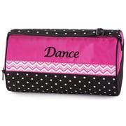 Sassi Girls Black Hot Pink Chevron Polka Dots Dance Duffel Bag