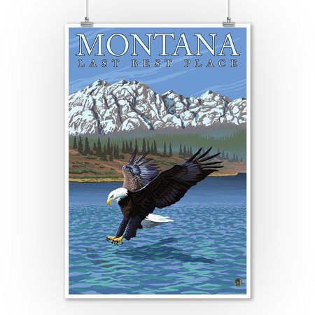 Montana  Last Best Place   Fishing Eagle   Lantern Press Original Poster  9X12 Art Print  Wall Decor Travel Poster