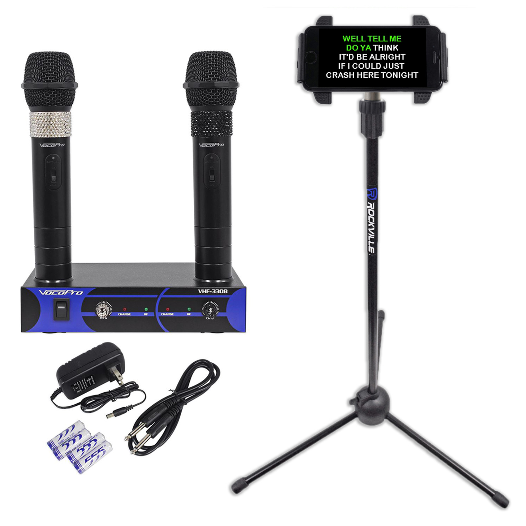 VocoPro VHF-3308-3 Rechargable VHF Wireless Karaoke Microphones+Tablet Stand by VocoPro