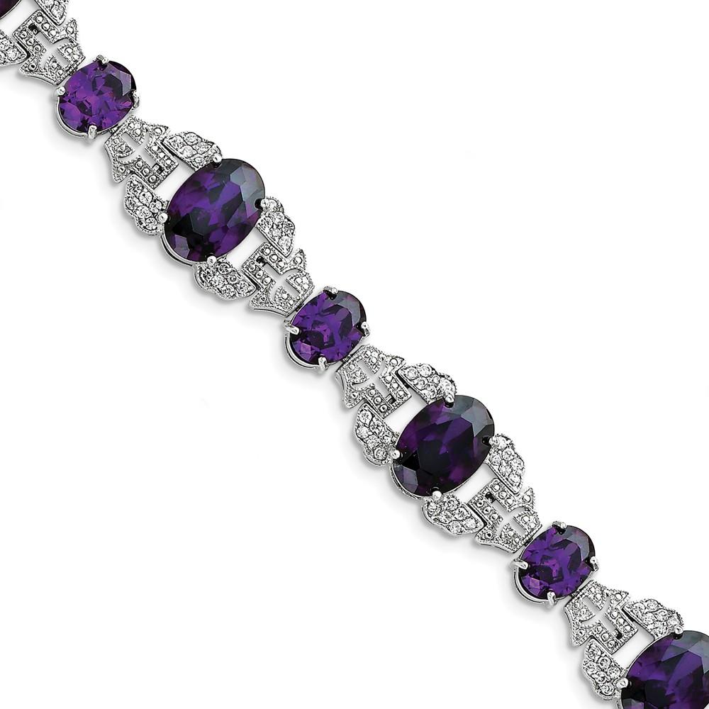 Sterling Silver Purple & Clear CZ Vintage Style Bracelet.