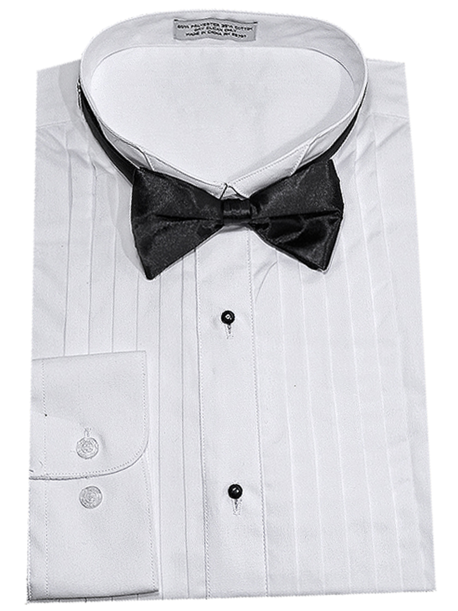 men's half inch pleat tuxedo shirt w bow tie
