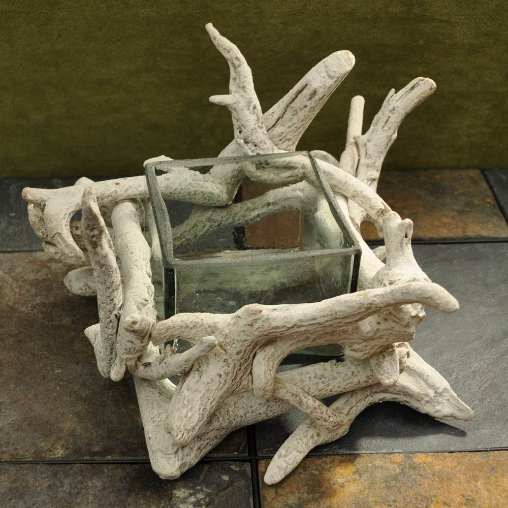 Driftwood Square Glass Bowl - White Washed