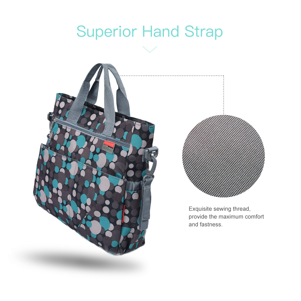 Shoulder and Stroller Diaper Bag, Diaper Bag, Waterproof, Blue Polka-dot