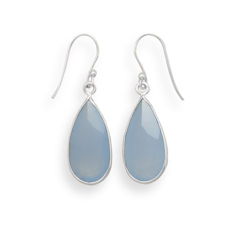 Chalcedony Faceted Cushion (Faceted Blue Chalcedony Earrings Teardrop Shape Sterling)