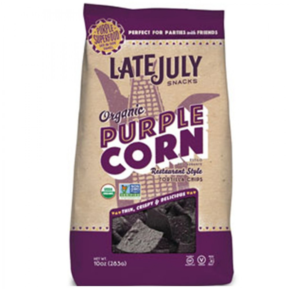 Late July Snacks Organic Tortilla Chips  Purple Corn  Case of 9  10 oz.