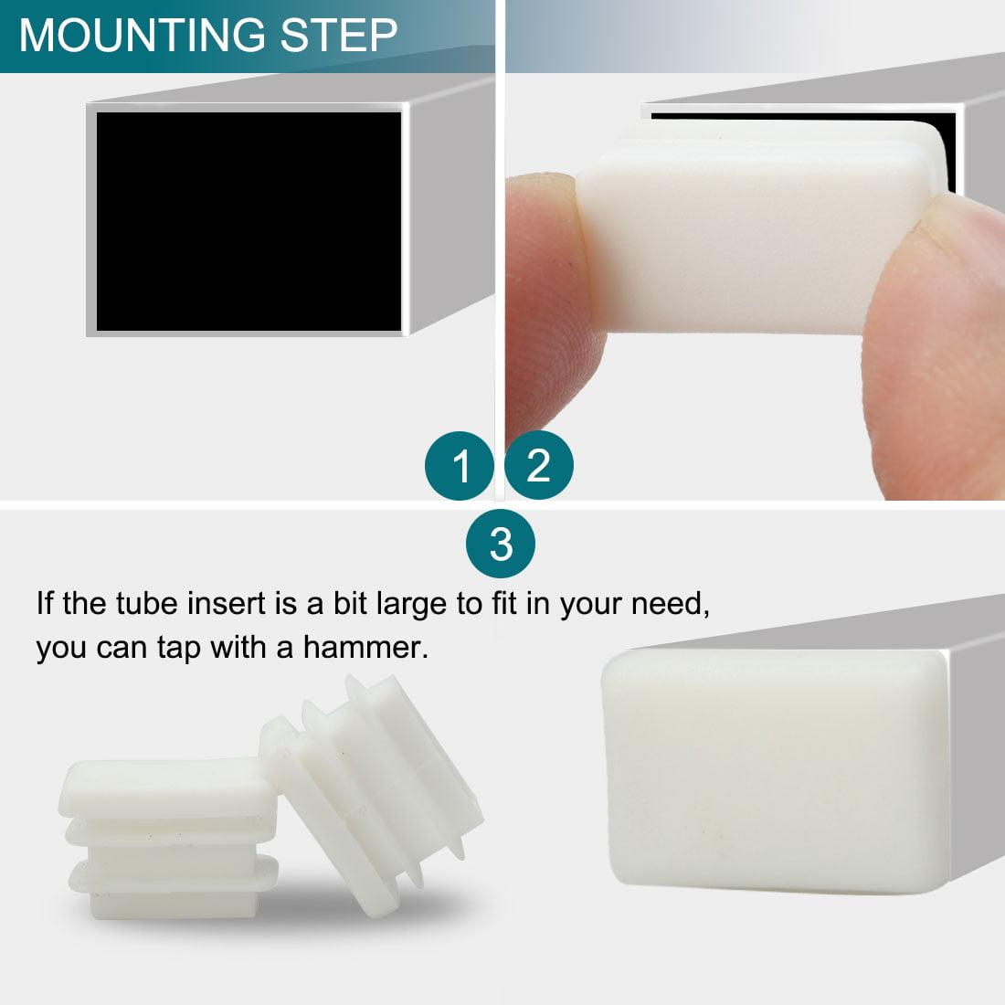 20 x 10mm Rectangle Tube Inserts Feet Cap Furniture Legs Floor Protector 20pcs - image 2 of 7