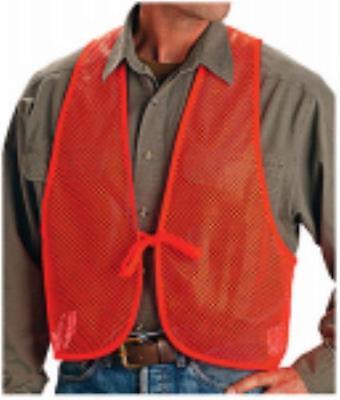 One Size Fits Most Blaze Orange Mesh Safety Vest Quiet Mesh Polyester Only One by