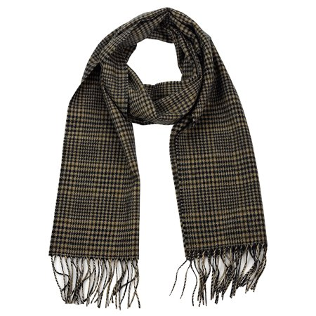 D&Y Unisex Classic Softer Than Cashmere Chevron Fringe End Scarf, Mini Houndstooth, Camel