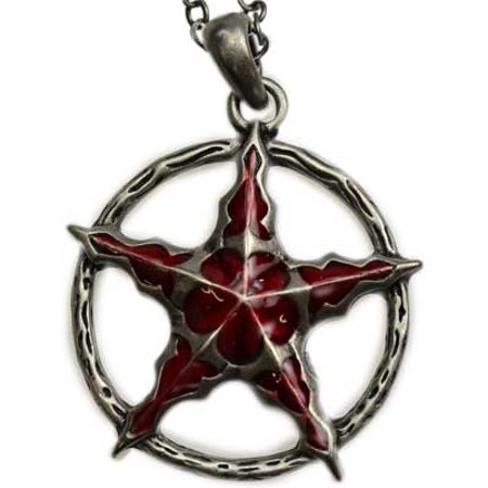 Pentacle of Crimson Red Enamel on Circle of Power To Envoke Magic Comes With Chain Necklace
