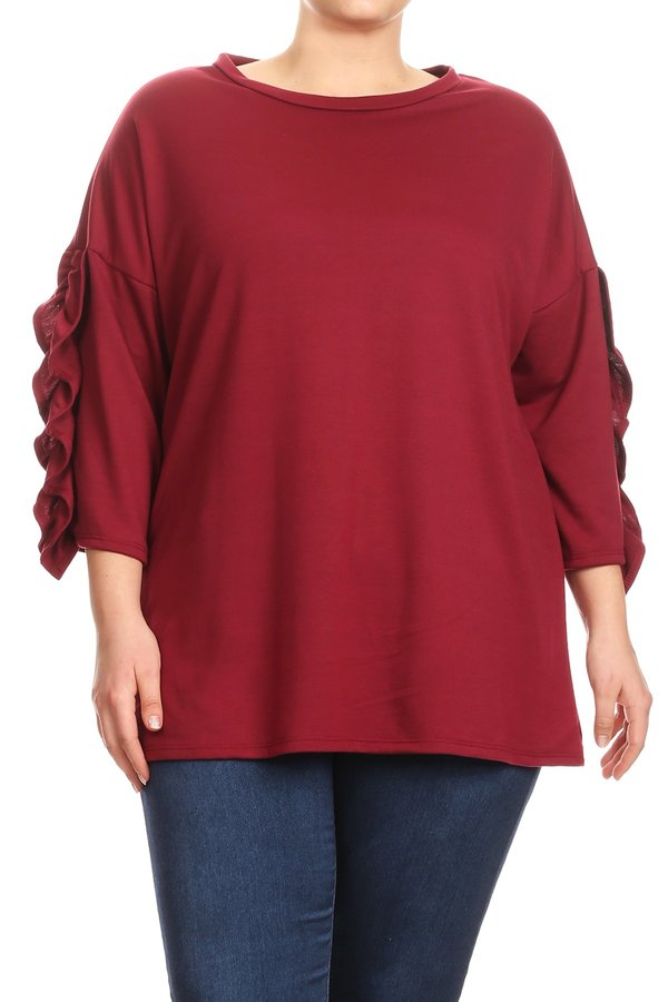 Women's Plus Size Trendy Style 3/4 Sleeve Solid Tunic Top