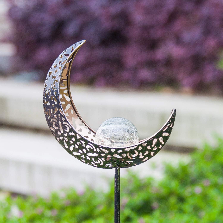 Lawn Moon with Sun Decor Crackle Glass Globe Metal Garden Stake Light Patio Aodue Garden Solar Light Outdoor Decorative Waterproof for Pathway Yard